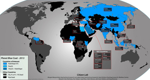 Map of BlueCoat worldwide deployments in countries of interest