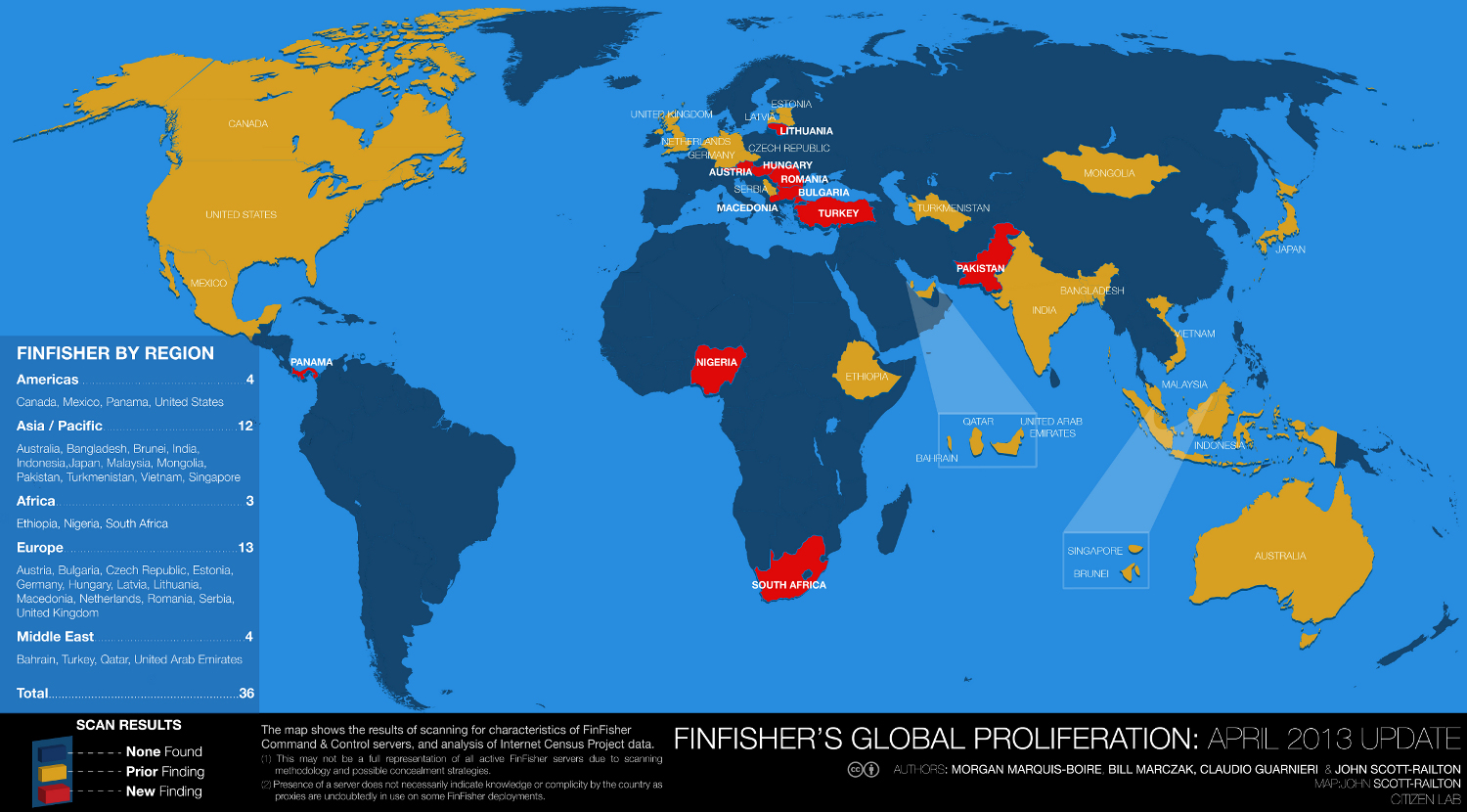 FinFisher's Global Proliferation: Updated Map