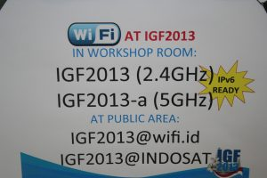 Figure 10: Sign describing wireless Internet access points at the IGF 2013 venue