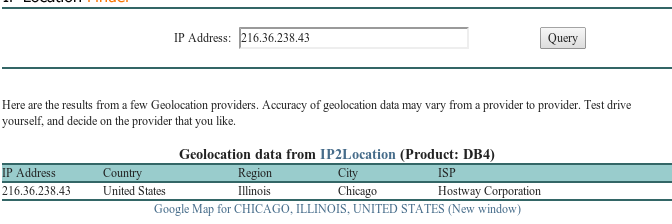 Figure 4: Geolocation information for the blockpage IP (Source: http://iplocation.net)