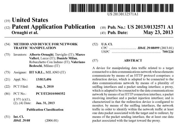 "Hacking Team's patent application for ""Method and Device for Network Traffic Manipulation""."