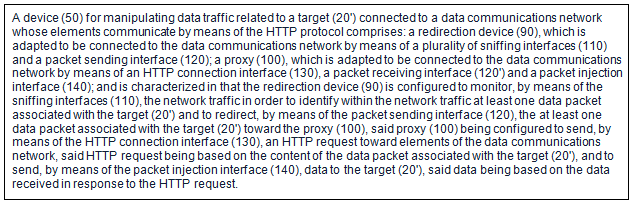 "Hacking Team's patent application for ""Method and Device for Network Traffic Manipulation"". (Source)"
