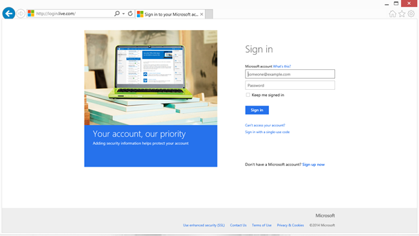 Login page for Microsoft's Live service being served over HTTP