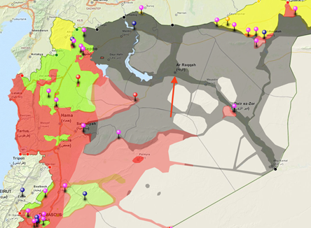 Map: Raqqah is indicated by the red arrow. Colors indicate areas mostly under the control of the following groups: Black = ISIS, Red = Syrian Regime, Green = Free Syrian Army, Yellow = Kurdish. Note: the map is not highly detailed, nor completely up-to-date, but is useful in showing general areas of control. Source: @DeSyracuse