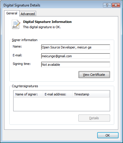 "Figure 2: The spyware is signed by a certificate purportedly issued to ""Meicun Ge"" in China. Windows accepts the signature as valid."