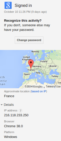 "Figure 6: The GMail account of an individual infected by the same attacker was accessed from an IP address that hosted a computer called ""INSA-PC."" Google incorrectly geolocates the address in France."