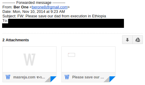 "Figure 8: November 10, 2014 spyware e-mail implores ""Please save our dad from execution in Ethiopia."""