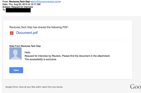 "Image 10: An e-mail masquerading as sent from the Reuters news agency's ""Tech Dep"" and promising an interview."