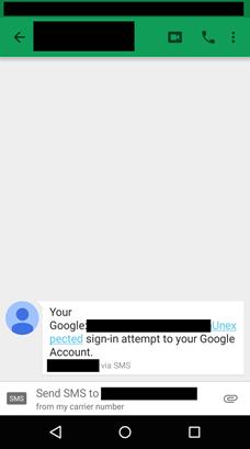 عکس ۲: پیامک جعلی درباره تلاش برای ورود به حساب کاربری گوگل