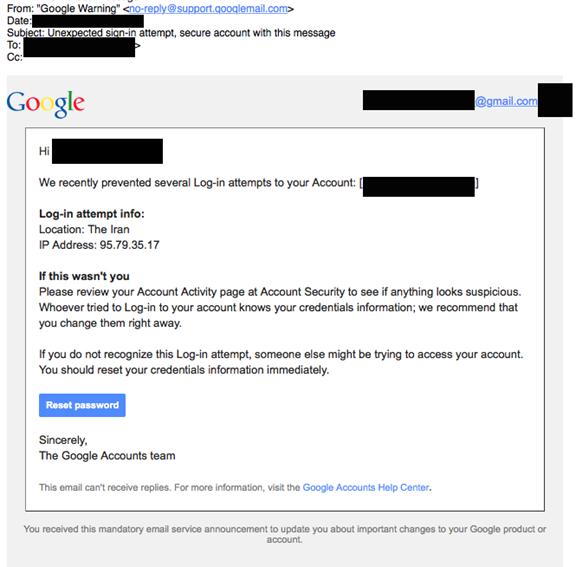 عکس ۳: ارسال کننده پیامک نیز تلاش داشته که نام دامنه ایمیل خود را بسیار شبیه به نام دامنه گوگل انتخاب کند