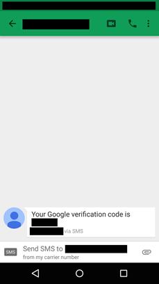 عکس ۶:  پیامکهای ساختگی رمز عبور دوم گوگل