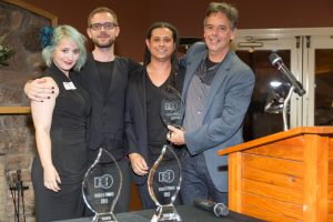 Eva Galperin with Citizen Lab's Claudio Guarnieri, Morgan Marquis-Boire, and Ron Deibert at the 2015 Pioneer Awards