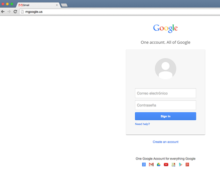 Image 20: mgoogle.us hosted a Spanish-language lookalike Google login