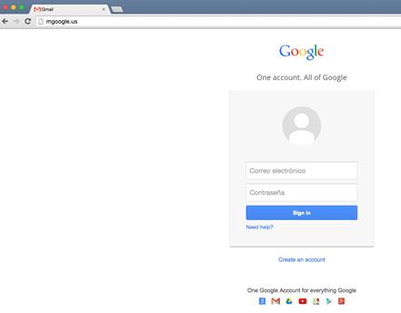 Image 20: mgoogle.us hosted a Spanish-language lookalike Google login