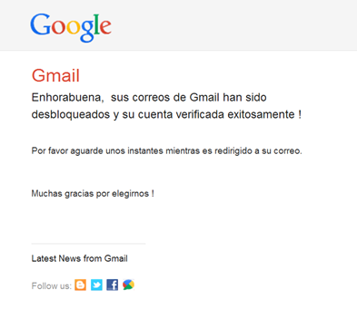 "Image 21: A Spanish language note ""confirming"" that their gmail has been ""unblocked"""