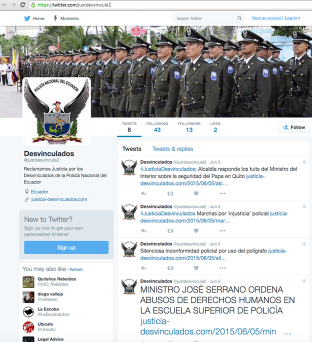 Image 33: Screenshot of Desvinculados Twitter page