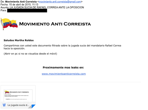 "Image 6: Example Seeding E-mail from ""Movimento Anti Correista"""