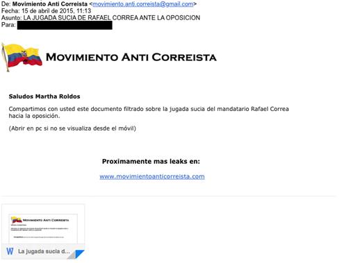 "Image 6: Example Seeding E-mail from ""Movimento Anti Correista"""