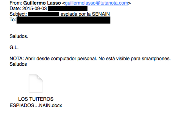 "Image 8: Email with the purported sender as ""Guillermo Lasso,"" the defeated challenger in Ecuador's last presidential election"