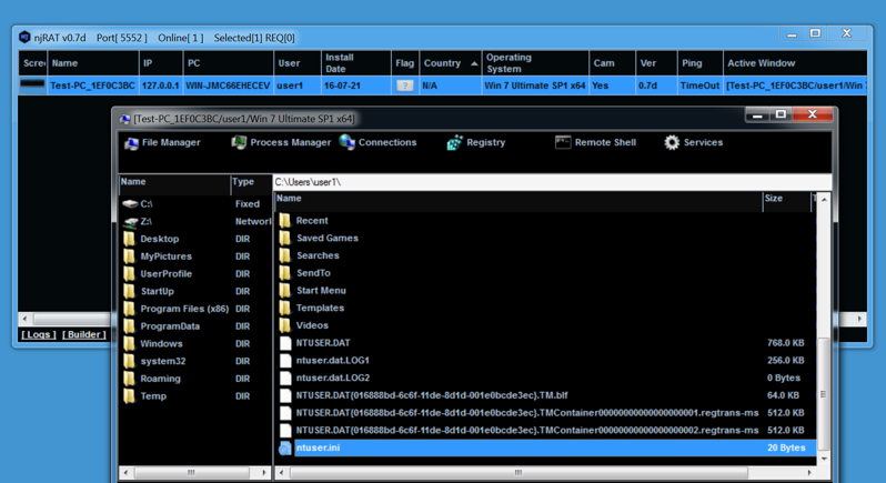 Figure 7 : Screenshot of njRAT working, and accessing the victim's files.