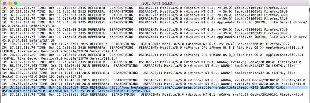 Figure 10: Screenshot of 11th October 2015 log, showing list of IP's and referrer from hostnegar[.]com