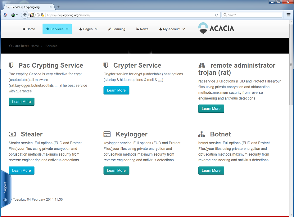 Figure 16: Crypting[.]org main page (left), list of hacking services offered (right)