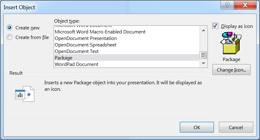 Figure 18: Adding an OLE Package to a PowerPoint document