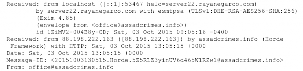 Figure 28: Headers from the initial e-mail