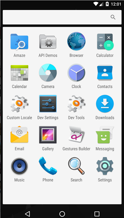 Figure 29: The malicious application is installed, and appears in the Apps tab (left), while hidden from the Apps list from the Drawer (right)