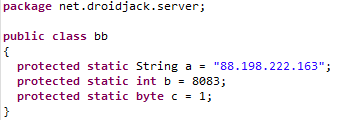 Figure 37: DroidJack configuration showing that it shares a host with the other Group5 malware