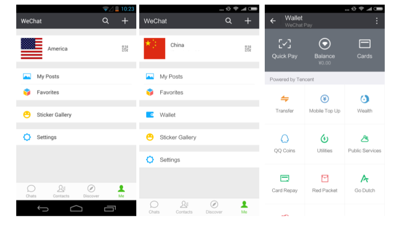 Figure 15: Screenshots of user profile pages for WeChat accounts registered in the US (right), China (Middle). Only the China account has access to WeChat wallet features. The interface to WeChat Wallet is shown on the left.