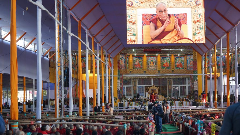 Figure 1: His Holiness the Dalai Lama conducts a Kalachakra teaching in Bodh Gaya. Photo credit: Lhakpa Kyizom