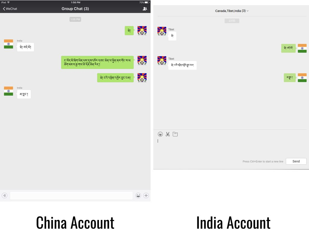 "Figure 4: A user with a China account attempts to send a message with the keyword ""གོང་ས་མཆོག"" in a group chat to users with International accounts and is blocked."