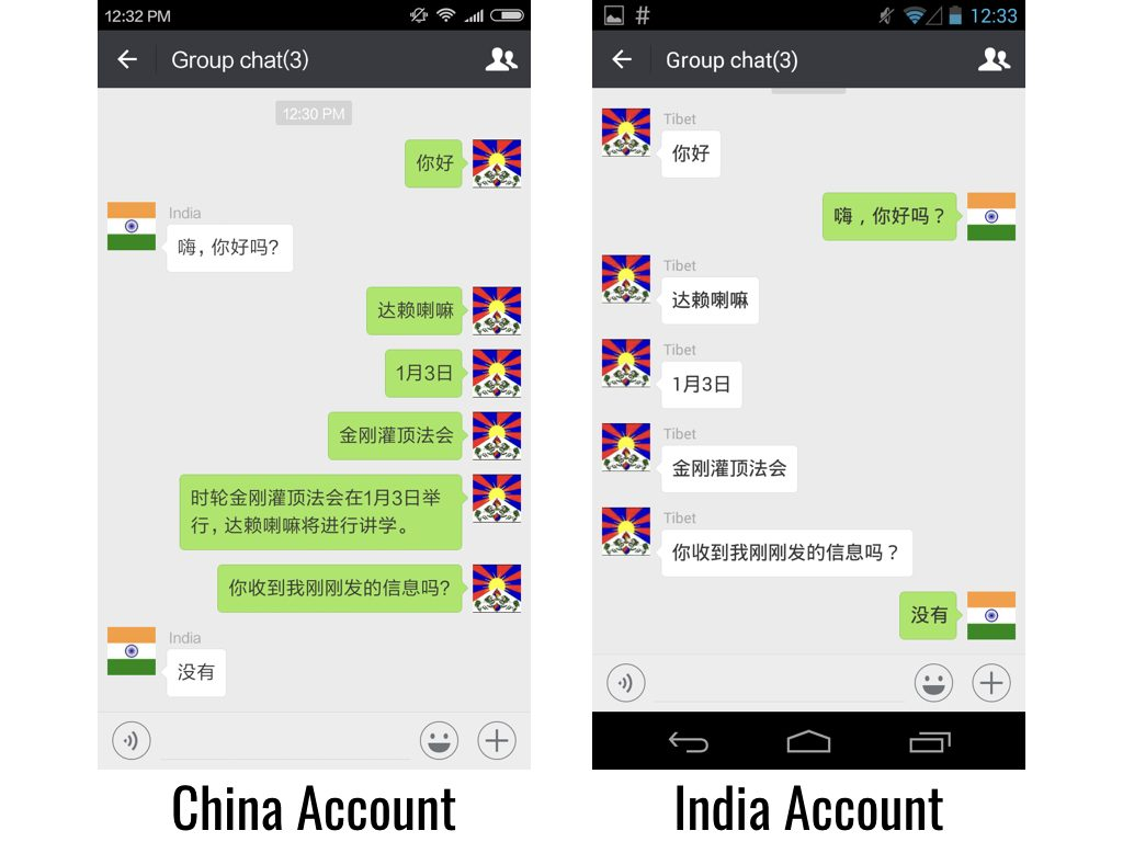 "Figure 3: A user with a China account attempts to send a message with the keyword combination ""Kalachakra"" + ""Dalai Lama"" + ""Tibetan"" in a group chat to users with International accounts and is blocked. If the keywords are sent individually they are received."