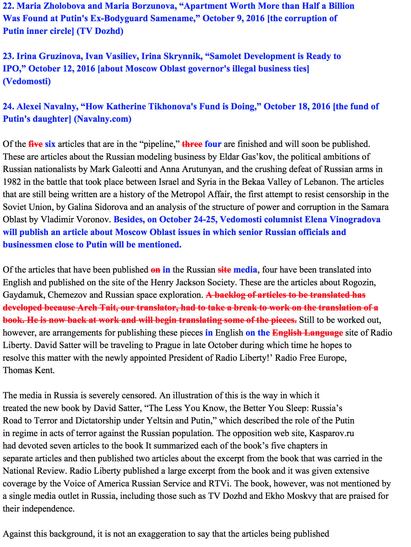 Figure 28 C: Full text of the tainted leak released by CyberBerkut showing tainting