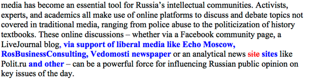 Figure 18: A second section in same document showing once more how several media outlets, including Echo Moscow, RosBusinessConsulting, and Vedomosti have been added.