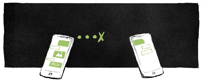 Illustration of a sender and the receiver in a chat.