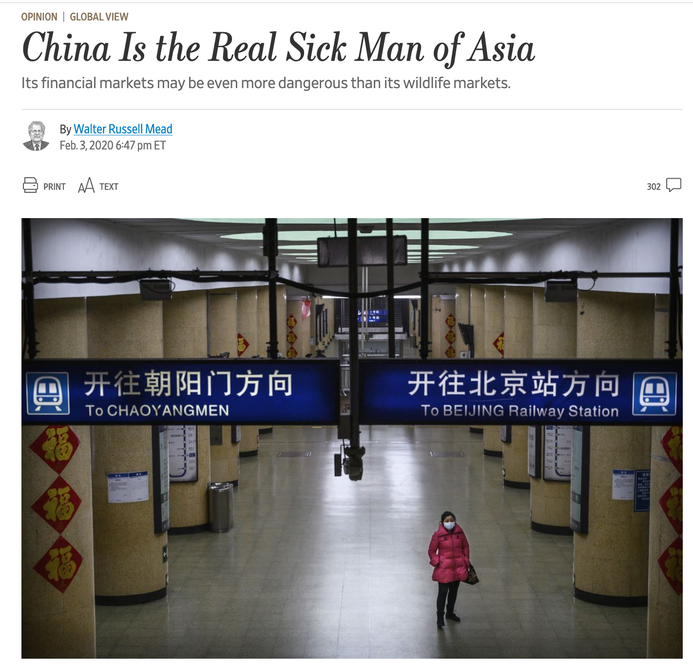"Screenshot of a WSJ article that reads ""China is the real sick man of Asia""."