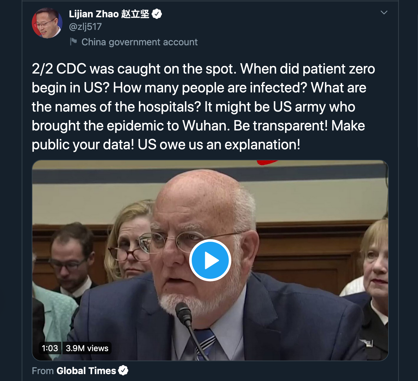Screenshot of a tweet from Lijan Zhao.