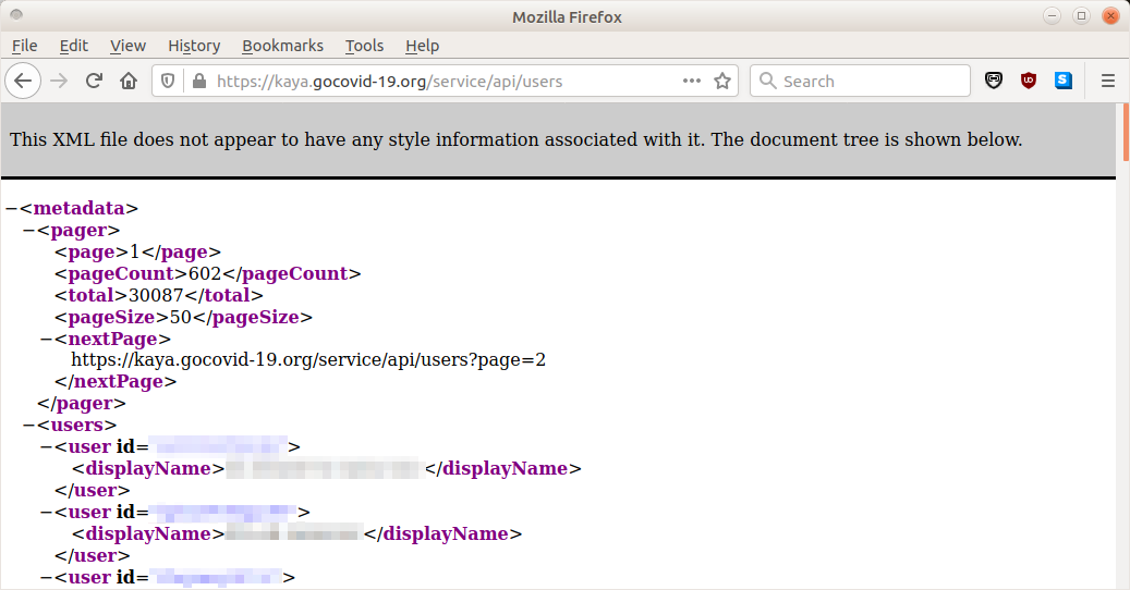 API endpoint showing user's full names (redacted).