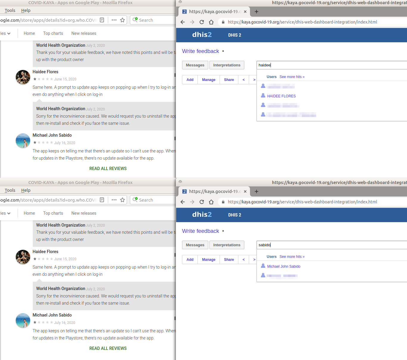 Screenshots of Google Play Store reviews (left) and web app dashboard (right) showing a match between public reviewers and the web app user list.