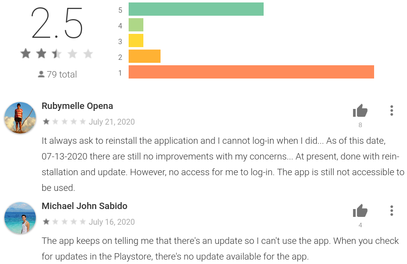 COVID-KAYA reviews on Google Play Store showing users reporting they are asked to reinstall the app