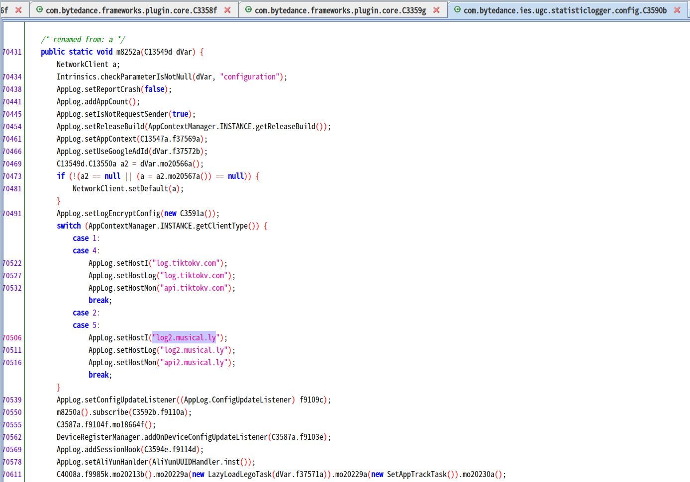 Screengrab of source code of Douyin