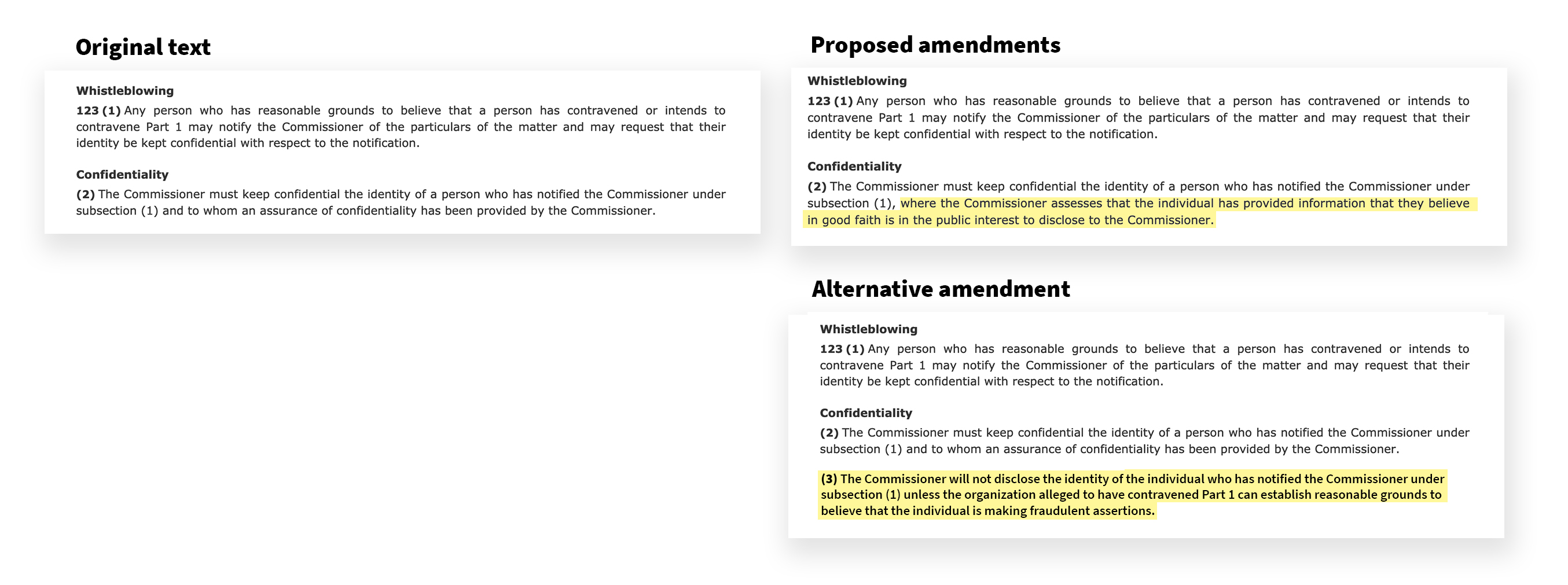 Screengrab of the original bill and proposed amendments to the Bill side by side.